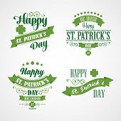 Happy Saint Patrick's Day Card. Typographic With Ornaments,  Ribbon and Clover