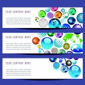 A set of globe banners
