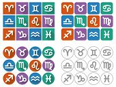Astrological Signs Of The Zodiac. Flat Ui Square Icons With Long Shadow.