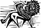pic of zoroastrianism  - Woodcut style image of mythological winged Sphinx - JPG