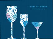 Vector blue and pink kimono blossoms three wine glasses silhouettes pattern frame