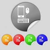Smartphone Widescreen Monitor, Keyboard, Mouse Sign Icon. Set Colourful Buttons. Vector