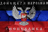 Flag Of Donetsk Peoples Republic Painted On Cracked Wall