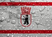flag of East Berlin with rain drops