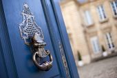 stock photo of mansion  - Old door knocker of a French mansion - JPG
