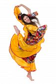 gypsy woman jumping against isolated white background