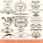 Collection Of Vector Calligraphic Flourishes In Vintage Style