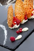 foto of biscuits  - Dessert with biscuit red fruits and vanilla cream - JPG