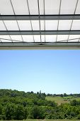stock photo of awning  - Awning on a terrace in the countryside - JPG
