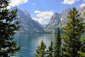 Jenny Lake And Mountains Of The Grand Teton National Park, Wyoming In Summer