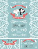 foto of snow border  - Wedding invitation set with cartoon wedding hearts in Retro style with Paisley lace border - JPG