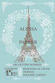 Wedding invitation.Eiffel tower,Snowflakes wreath