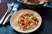 Stir Fried Rice Noodles With Prawns And Mussels