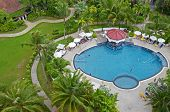 Phuket,TH-Sept,24 2014:Top view of a swimming pool on a cloudy day in Karon Beach, Phuket, Thailand