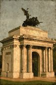image of knightsbridge  - Vintage image of the Wellington arch at sunset - JPG
