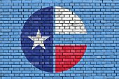picture of collins  - flag of Collin County painted on brick wall - JPG