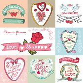 Valentines day cards set. Labels,frames,decorative elements