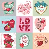 Valentines day card set.Labels,frames ,decorative elements,hear