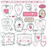 Romantic frame bundle.Hand drawing Valentine,wedding decor