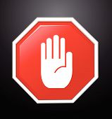 stock photo of no entry  - No entry hand sign on black background - JPG