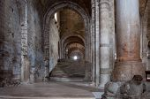 stock photo of church interior  - interior of a ruined church in san leo italy - JPG