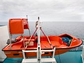 stock photo of life-boat  - Small life boat on a ferry ready to launch - JPG