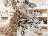 Christmas Glittering Reindeer Decoration, White Tree In Background