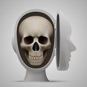 Skull inside the open head. Vector illustration