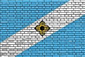 Flag Of Madison Painted On Brick Wall