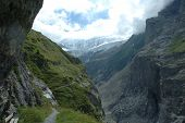 Valley, Trail And Glacier Nearby Grindelwald In Switzerland