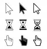 Vector illustration hand cursor hourglass