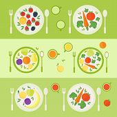 Plates With Fruits And Vegetables. Lunch Time. Vector Illustration