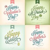 Typographical Spring Holiday Set - Valentine's Day - St. Patrick's Day - Easter - Mother's Day