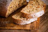 Fresh Rye Bread On A Cutting Board Closeup