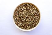 Macrotyloma uniflorum or horse gram kept in a bowl on an plain background