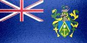 Pitcairn Islands flag on metallic metal texture