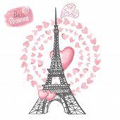 Love in Paris.Eiffel tower,Watercolor hearts wreath.Hand drawn