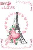 Paris in love.Hand drawn sketchy,Watercolor decor