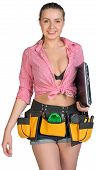 picture of armpit  - Woman in tool belt - JPG