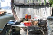Roadside trade in Crimea nuts, adjika, mushrooms, jam