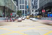 Busy intersection in Central, Hong Kong