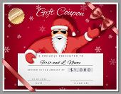 Gift Certificate Template As Coupon With Santa Claus Over Red Christmas Background With Snowflakes