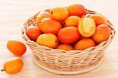 Fruit Jocote (sineguela, Siriguela, Red Mombin, Purple Mombin, Hog Plum, Ciruela Huesito) In Wicker
