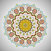 Ornamental round colorful pattern in aztec style
