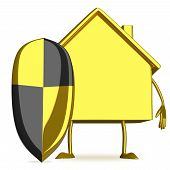 Gold Cottage Character With Shield