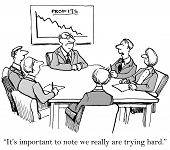 pic of saying  - Cartoon of disgruntled business boss and chart of declining profits - JPG