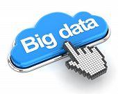 Clicking a cloud shaped big data button, 3d render