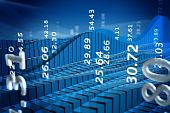 pic of stock market data  - Rendering of stock market chart with abstract numbers - JPG