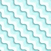 Geometrical Ornament With Diagonal Blue Wavy Lines