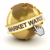 Market watch symbol with golden globe and hand cursor